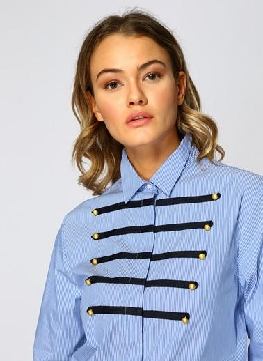 North Of Navy Önü Şerit Detaylı Gömlek Mavi